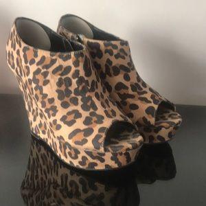 Leopard peep toe wedges